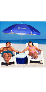 beach umbrella travel portable compact uv vent tilt beach umbrella with sand anchor table Carry Bag