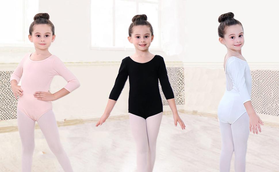 Soudittur Maillot de Ballet Danza Clásico para Niña Manga 3/4 Body ...