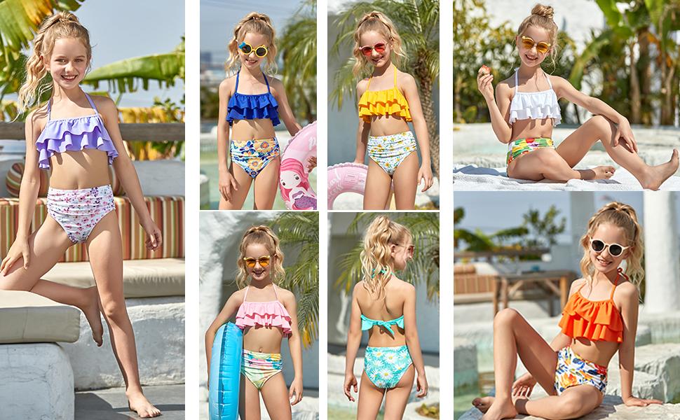 Girls Swimsuit Falbala High Waisted Bathing Suit Halter Neck Bikini Swimwear