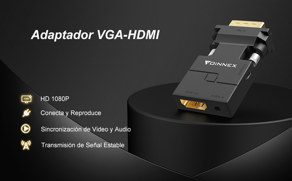 FOINNEX VGA a HDMI Adaptador/Convertidor con Audio (Conversor de PC Antigua a TV/Monitor con HDMI) Activo Hacer Macho VGA to HDMI Hembra Conector HD 1080P Video y Sonido para Computer,Laptop,Projector: Amazon.es: Informática