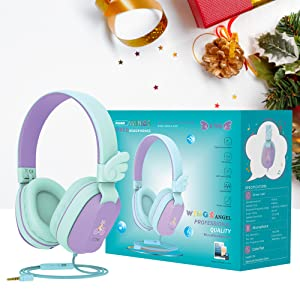 Kids Gifts Headphones - Kids Headphones, Riwbox CS6 Lightweight Foldable Stereo Headphones Over Ear Corded Headset Sharing Function With Mic And Volume Control Compatible For IPad/iPhone/PC/Kindle/Tablet (Purple&Green)