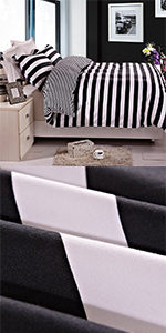 NTBAY Duvet Cover Set Black and White Stripe