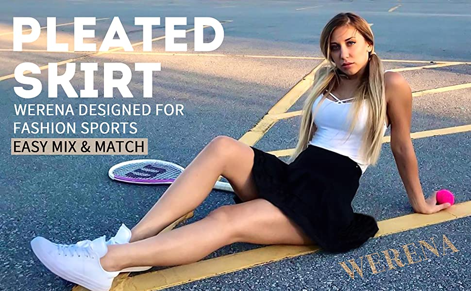 Pleated Tennis Skirts for Women with Pockets Shorts Athletic Golf Skorts Activewear Running Skirt