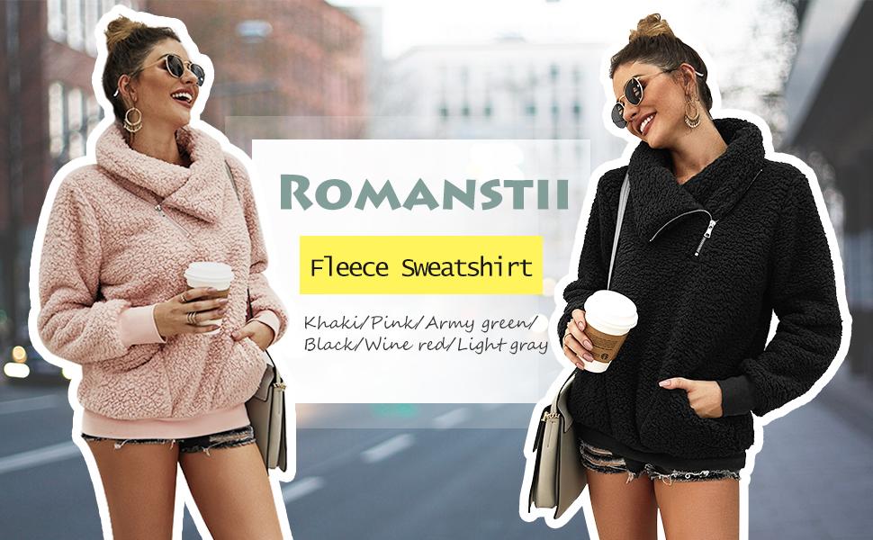 fuzzy fleece sweatshirt sherpa pullover sweater faux shearling lapel zip up loose plus size warm
