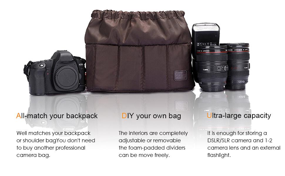 JVSISM Universal Insert Partition Padded Camera Bag Shockproof Sleeve Cover For Dslr Slr Camera Black