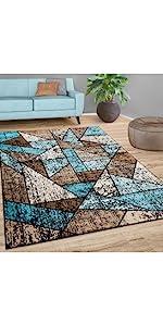 rug blue brown