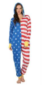 usa flag wonder woman dc comics united states onesie pajama womens women pj pjs jumpsuit costume