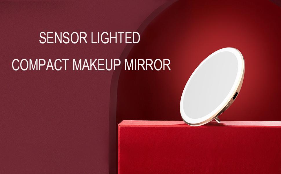 sensor lighted compact makeup mirror
