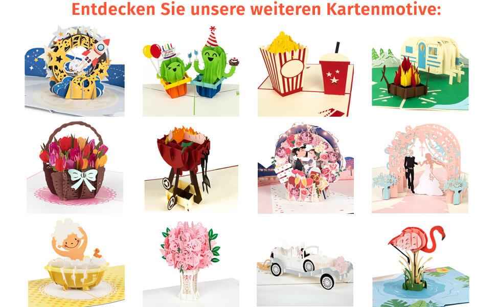 3D Pop Up Karten PaperCrush Grußkarten Glückwunschkarten