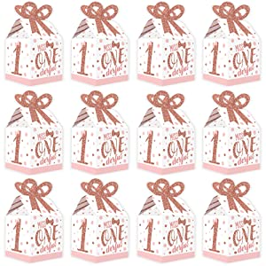 girl first birthday party bow gift boxes