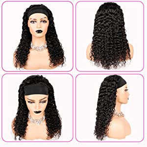 water wave headband wigs for black women human hair