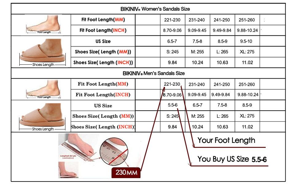 BIKINIV Massage Sandals Size Chart