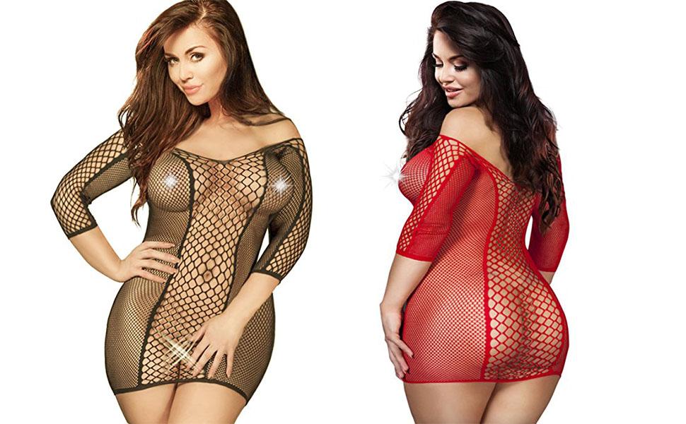 women fishnet dress