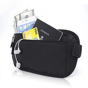 Gama Money Belt for Travel RFID Blocking Fanny Pack, Hidden Passport Holder - Slim & Under Clothes
