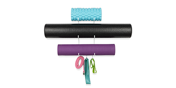 "19"" yoga mat foam roller black wall mount storage rack towel rack thin yoga mat metal shelving unit"