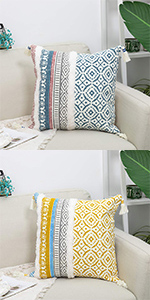 throw pillow cover couch 18x18 farmhouse sofa cushion blue white decor case fringe lumbar nap chair