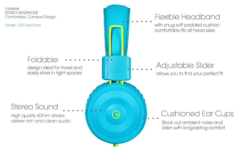 noot products k22 kids headphone