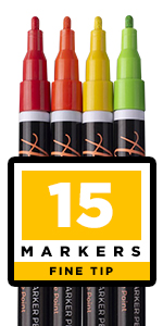 Set of 15 Permanent Oil Based Paint Markers Fine Round Tip 1-2mm …