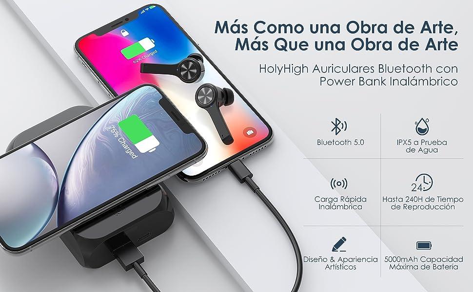 HolyHigh Auriculares Bluetooth Auriculares Inalambricos Bluetooth 5.0 con 5000mAh Estuche de Carga Inal/ámbrico Port/áctil Bater/ía Externa con Mic Cascos Bluetooth Impermeables IPX5 para iOS Android