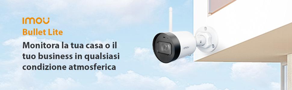 Telecamera da esterni per sorveglianza domestica Imou IP67 resistente alle intemperie, dotata di risoluzione 1080P, Wi-Fi con antenna esterna, sensore di movimento e visione notturna