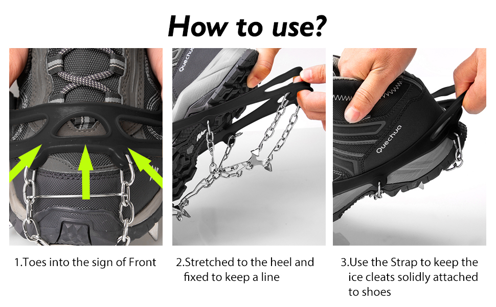ROCONTRIP Traction Cleats Ice Snow Grips Anti Slip Stainless Steel Spikes Crampons for Footwear M//L//XL