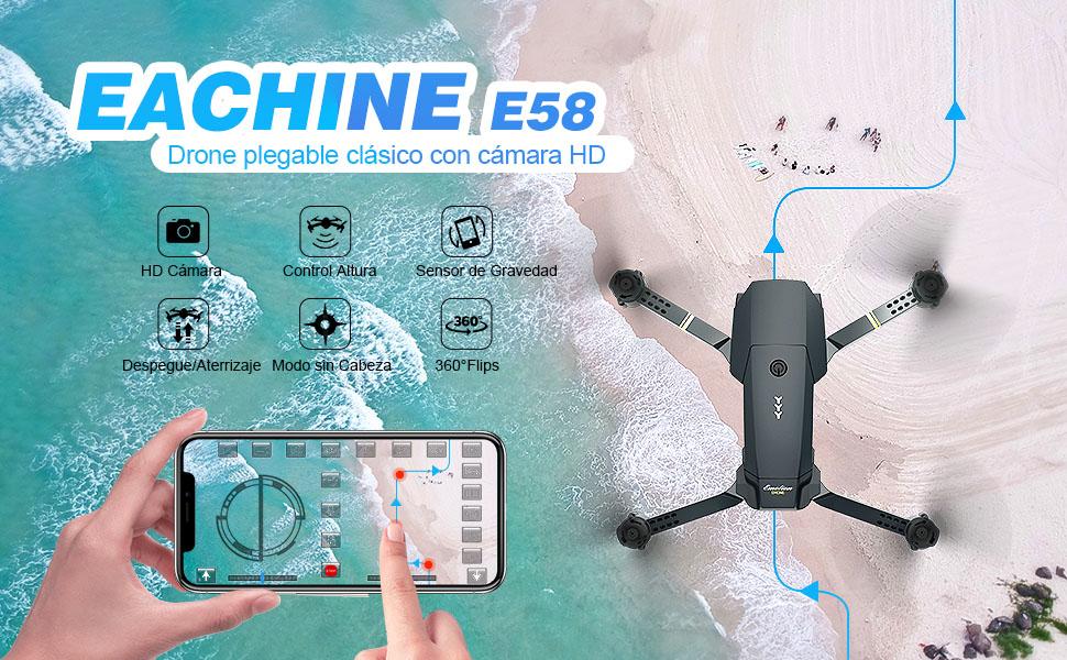 EACHINE E58 Drone con Camara HD 2.0MP 720p Wide Angel Drone ...