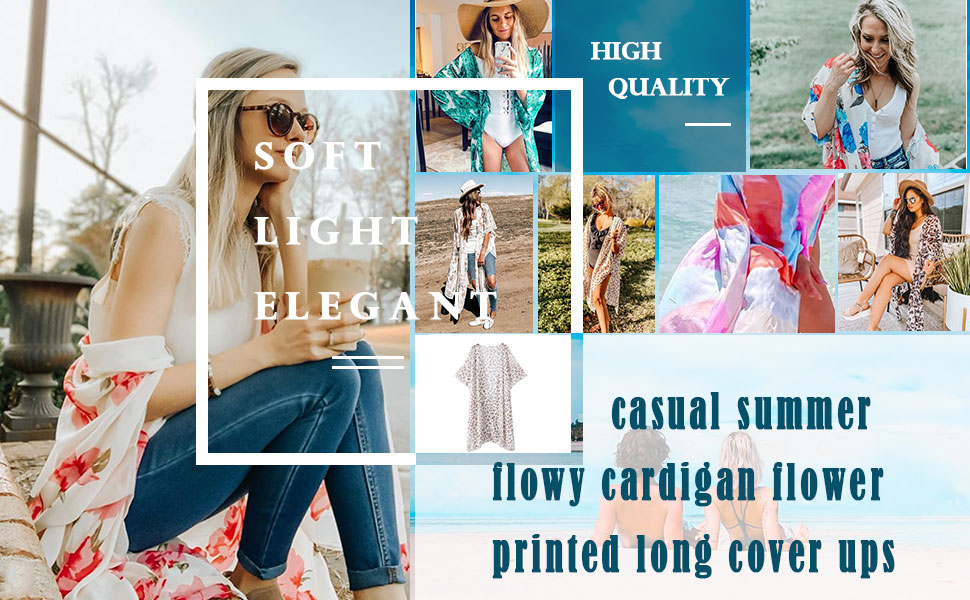 Hibluco women's casual summer flowy cardigan flower printed long cover ups