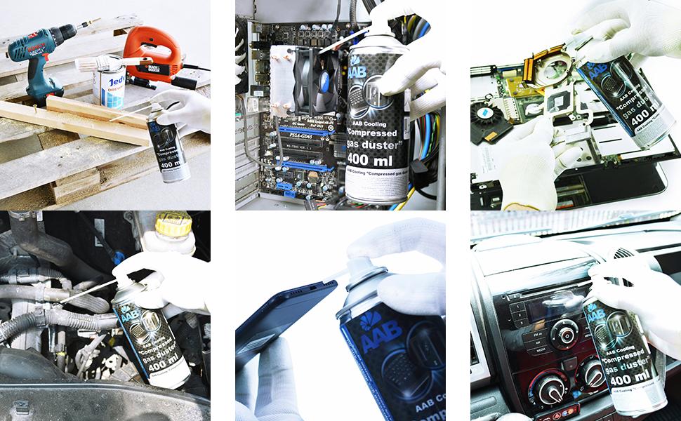 2 x AAB Botella de Aire Comprimido 400ml para Limpiar Teclados Ordenadores Copiadoras Cámaras Impresoras y Otros Equipos Eléctricos Soplador de Aire ...