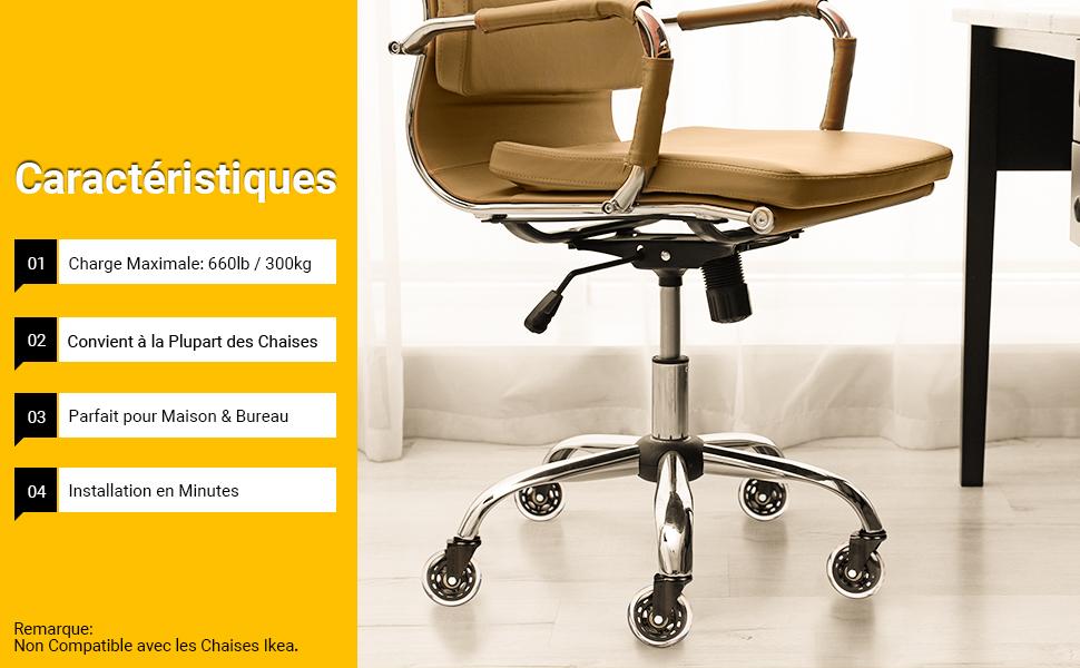 SECWELL 5Pcs Roulettes Chaise Bureau,Universelles Roues de Si/ège Bureau,Roulettes Replacement Ultra Silencieuses R/ésistantes Aux Rayures pour Sols Durs . 11x22mm