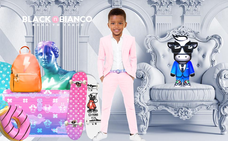 Black n Bianco Boys Pink Slim fit Suit kids formal wear