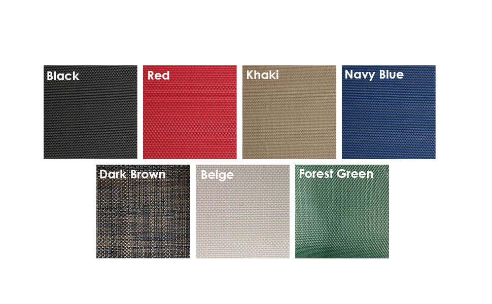 7 colors to choose from: forest green, beige, dark brown, red, khaki, black, navy blue