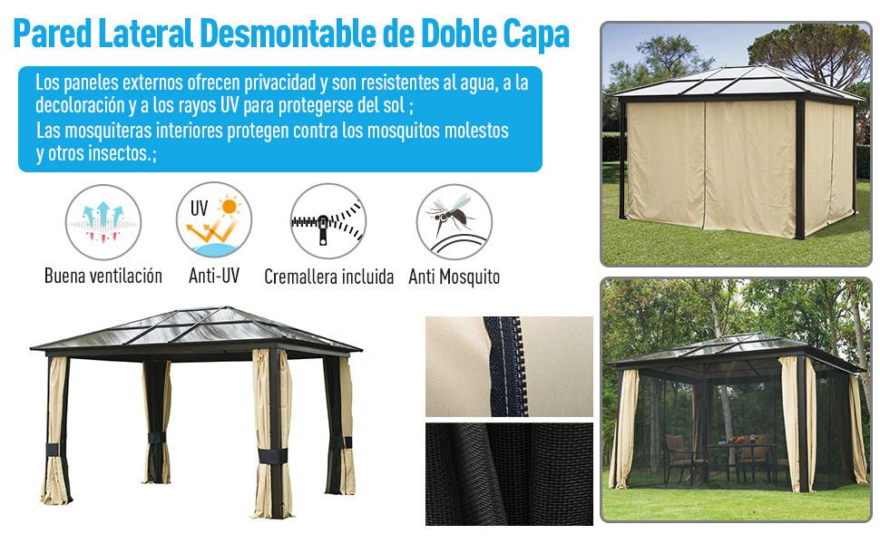 Outsunny Carpa 3x3.6m Cenador Estructura de Aluminio 4 Paravientos ...