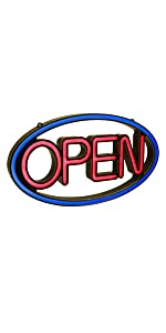 LED Oval Open Business Sign