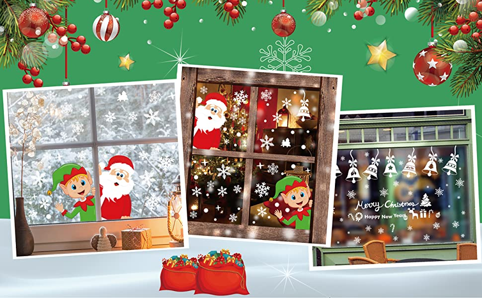 Decoration noel stickers window showcase 160pcs snowflake santa claus