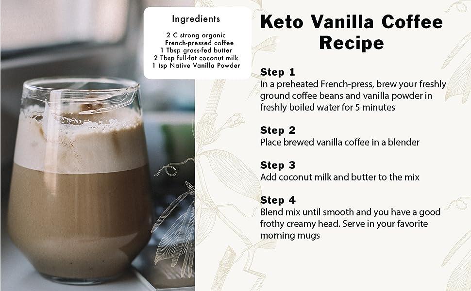 Keto Coffee, Vanilla powder, vanilla, power, native vanilla