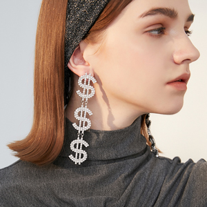 dollar sign crystal drop dangling earrings