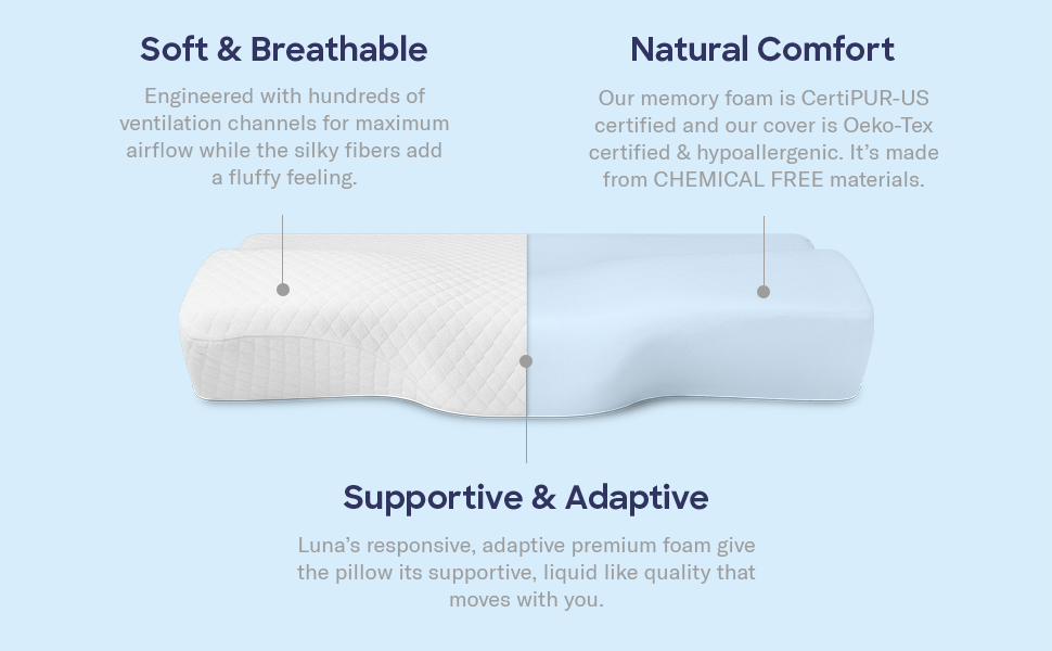 The pillow is hypoallergenic, free of chemicals, breathable and extremely soft with a silky feeling