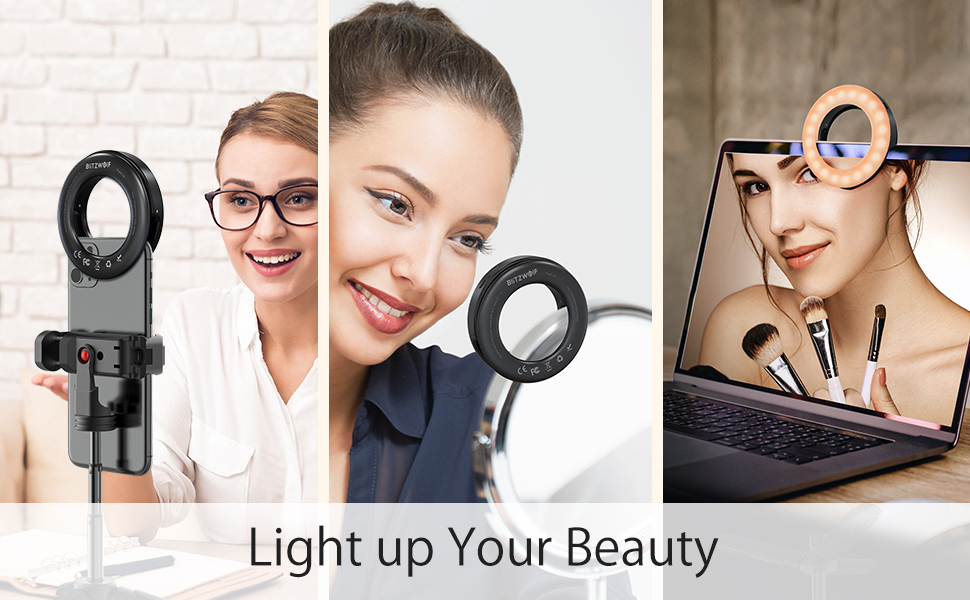 selfie ring light  Selfie Ring Light, BlitzWolf Selfie Light with 40 LED & 4 Lighting Modes Rechargeable Clip on Circle LED Light Portable Circle Light for Phone Laptop iPad Photography Video Makeup (Black) 853a615c 7218 4a24 be7c 7f8c7428925f