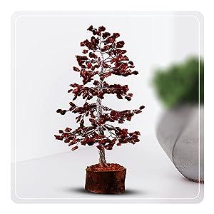 gemstone wooden base tree red jasper home office kitchen decor gift crocon crystal