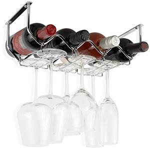 Wallniture Piccola wine rack bottle organizer glasses holder for 4 wine bottles metal chrome
