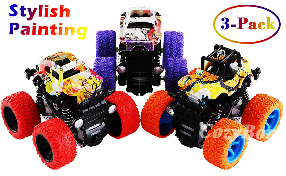 Friction Powered Monster Trucks Toys for Boys - Push and Go Car Vehicles Truck Playset Vehicle Car