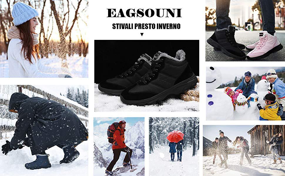 Stivali da Neve Invernali Scarpe Allineato Pelliccia Caloroso Caviglia Piatto Stivaletti Stringate Boots per Uomo Donna