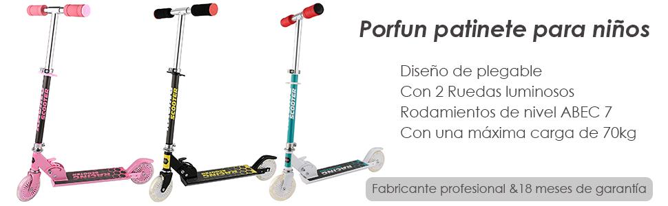 Profun Patinete 2 Ruedas Patinete Plegable para Niños Patinete Infantil con Freno Altura del Manillar Ajustable Patinete Niño Scooter Patinete con ...