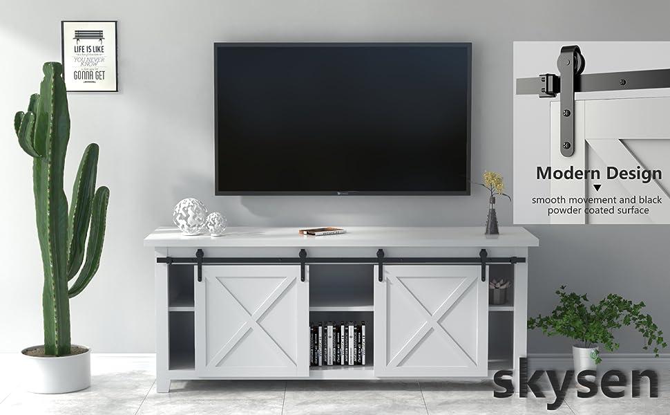 skysen 5ft Double Door Cabinet Sliding Barn Door Hardware Kit Super Mini Sliding Door Hardware for Wardrobe Cabinet TV Stand ykd2