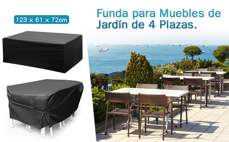 king do way Funda para Muebles de Jardín Exterior 123x61x72cm Conjuntos de Muebles Cubierta Impermeable para Sofa de Jardin, al Aire Libre, Patio, Plazas Funda para Sofa de Esquina, 420D, in PVC: