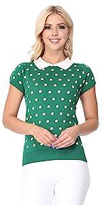 YEMAK Women's Classic Polka Dot Contrast Collar Short Sleeve Casual Pullover Sweater