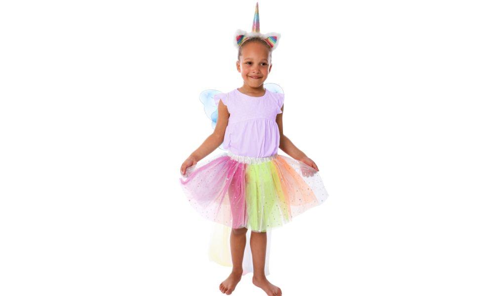 GirlZone Regalos para niñas, Disfraz de Unicornio Multicolor Traje ...