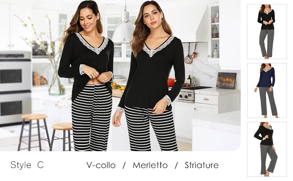 UNibelle Pigiama Donna Manica Corta Top e Pantaloni Cropped S-XXL