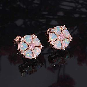 rose gold opal stud earrings