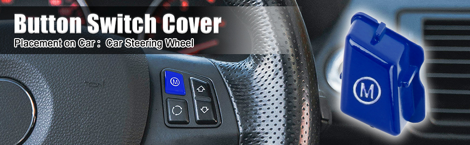 X AUTOHAUX Car Steering Wheel M Mode Button Switch Cover Blue for BMW E90 for BMW E92